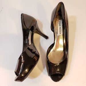 Steve Madden Black Patent Peep Toe Platform Heels
